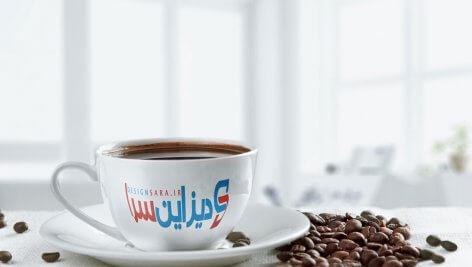 موکاپ نمایش لوگو روی فنجان قهوه