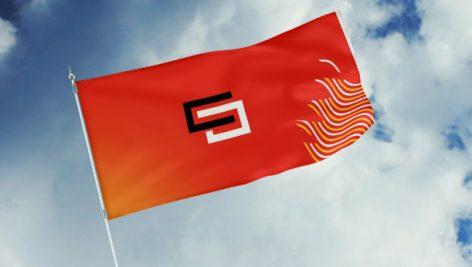 موکاپ نمایش لوگو روی پرچم