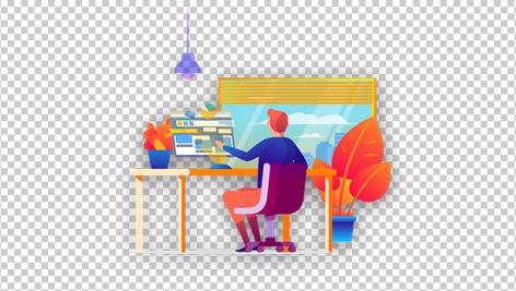 وکتور مرد در حال کارکردن با کامپیوتر