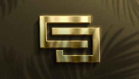 موکاپ نمایش طلایی لوگو