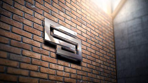 موکاپ نمایش لوگو روی دیوار به صورت سه بعدی