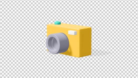 آیکون سه بعدی دوربین زرد